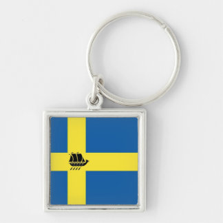 Swedish Viking Ship with Flag of Sweden Silver-Colored Square Keychain