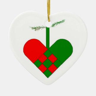 Swedish Woven Paper Heart Ceramic Ornament
