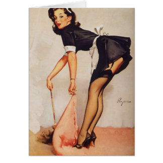 Sweep it under the rug, I'm Sorry, Vintage Pinup Card