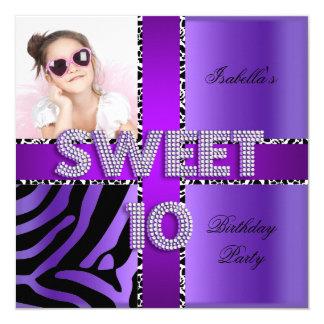 "Sweet 10 10th Birthday Zebra Cow Purple Black 5.25"" Square Invitation Card"