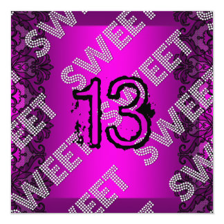 Sweet 13 13th birthday Hot pink Black Lace Grunge Card