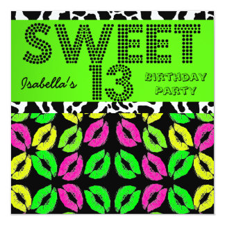 """Sweet 13 13th Birthday Lips Cow Lime Pink Black 5.25"""" Square Invitation Card"""