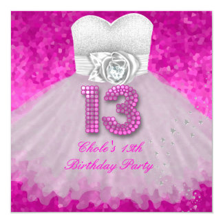 Sweet 13 13th Birthday Party Girls Hot Pink Card