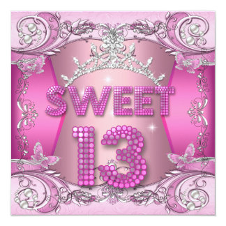 Sweet 13 13th Birthday Party Pink Silver Tiara Card