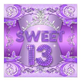 Sweet 13 13th Birthday Party Purple Silver Tiara Card
