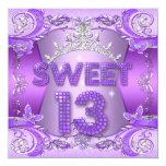 "Sweet 13 13th Birthday Party Purple Silver Tiara 5.25"" Square Invitation Card"