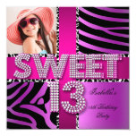 "Sweet 13 13th Birthday Zebra Cow Pink Purple 5.25"" Square Invitation Card"
