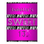 "Sweet 13 13th Birthday Zebra Hot Pink Black 4.25"" X 5.5"" Invitation Card"