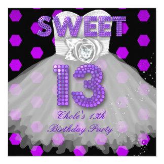 "Sweet 13th Birthday Party Girls 13 Teen Purple 5.25"" Square Invitation Card"