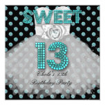 "Sweet 13th Birthday Party Girls 13 Teen Teal Blue 5.25"" Square Invitation Card"