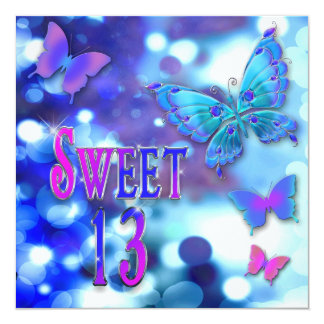 SWEET 13TH BIRTHDAY PARTY INVITTION - BUTTERFLY CARD