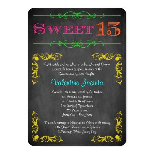 Sweet 15 Birthday Invitation | Neon Chalkboard