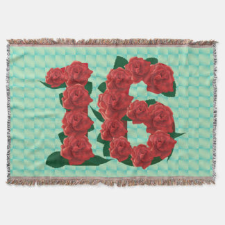Sweet 16 16th birthday red roses floral blanket