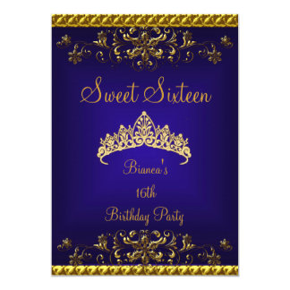 Sweet 16 16th Deep Blue Gold Diamond Tiara Card