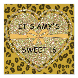 SWEET 16 ANIMAL PRINT Cheetah Invitations