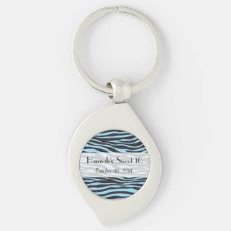 Sweet 16 - Animal Print, Zebra Stripes - Blue Keychain