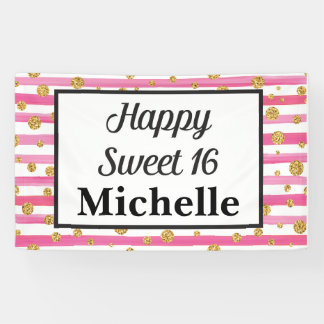 Sweet 16 Banner - Pink Stripes and Gold Glitter