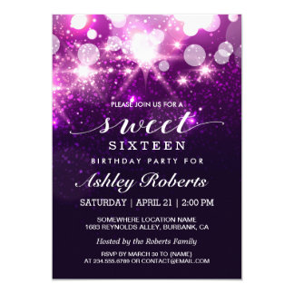 "Sweet 16 Bday Party Trendy Purple Glitter Sparkles 5"" X 7"" Invitation Card"