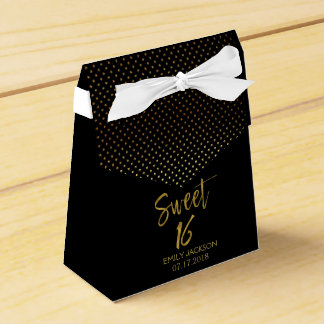 Sweet 16 Birthday Black & Gold Foil Polka Dots Favor Box