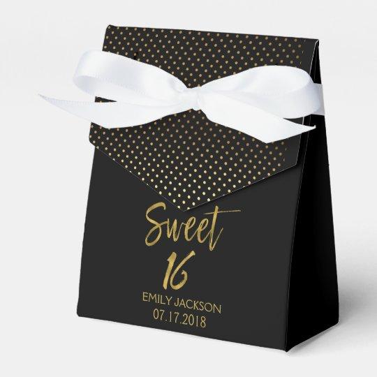 Sweet 16 Birthday Black & Gold Foil Polka Dots Favor Box