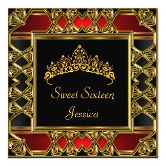 Sweet 16 Birthday Black Red Gold Tiara Card