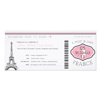 "Sweet 16 Birthday Boarding Pass to Paris 4"" X 9.25"" Invitation Card"