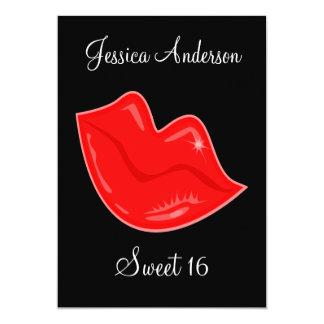 "Sweet 16 Birthday Bright Red Lips on Black 3 5"" X 7"" Invitation Card"