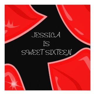 "Sweet 16 Birthday Bright Red Lips on Black 5.25"" Square Invitation Card"