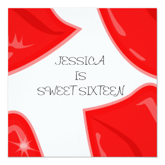 """Sweet 16 Birthday Bright Red Lips on White 5.25"""" Square Invitation Card"""