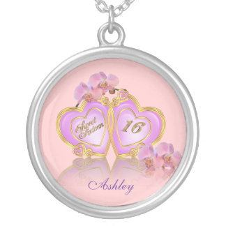 Sweet 16 birthday charm personalized silver plated necklace