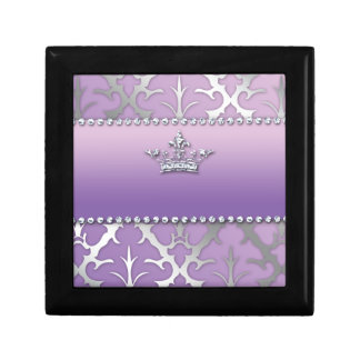Sweet 16 Birthday Damask Baby Shower Crown Gift Box