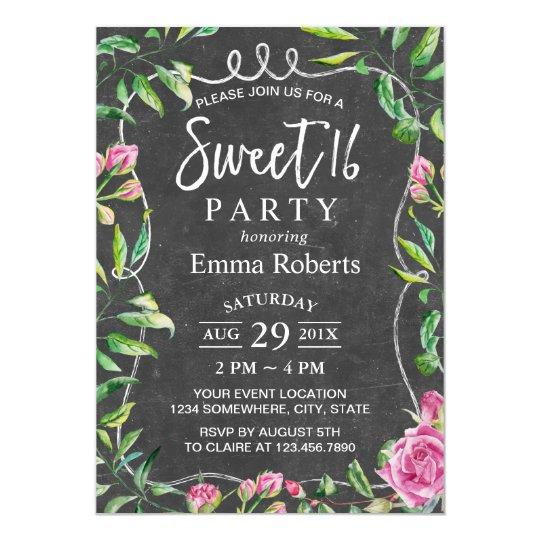 Sweet 16 Birthday Floral Framed Elegant Chalkboard Card