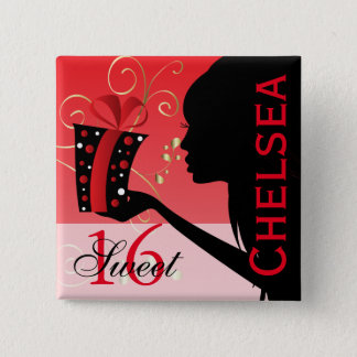 Sweet 16 Birthday Girl 2 Inch Square Button