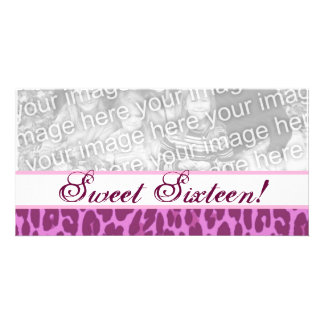 Sweet 16 Birthday Girly Pink Leopard A21 Picture Card