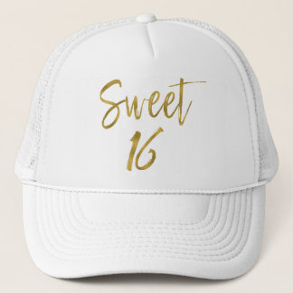 Sweet 16 Birthday Gold Foil and White Trucker Hat