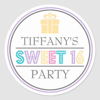 Sweet 16 Birthday Party Favor Sticker