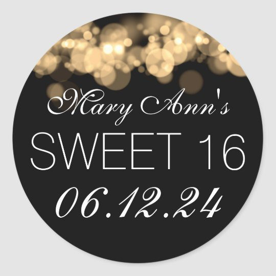 Sweet 16 Birthday Party Gold Bokeh Lights Classic Round Sticker