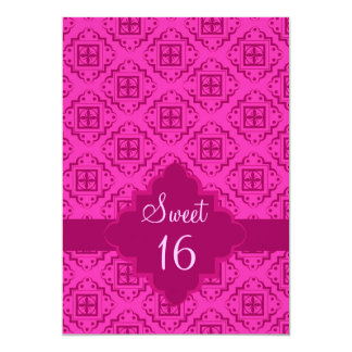"Sweet 16 Birthday Party Pink Arabesque Graphic 5"" X 7"" Invitation Card"