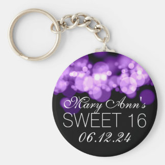 Sweet 16 Birthday Party Purple Bokeh Lights Basic Round Button Keychain