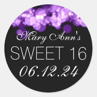 Sweet 16 Birthday Party Purple Bokeh Lights Round Stickers