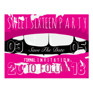 Sweet 16 Birthday Party Save The Date Pink Lips Postcard