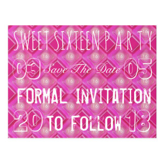 Sweet 16 Birthday Party Save The Date Pink Postcard