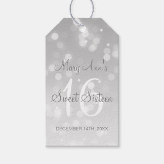 Sweet 16 Birthday Party Silver Bokeh Sparkle Light Gift Tags