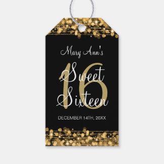Sweet 16 Birthday Party Sparkles Gold Gift Tags
