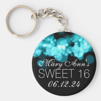Sweet 16 Birthday Party Turquoise Bokeh Lights Keychain