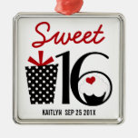Sweet 16 Birthday personalized Keepsake Silver-Colored Square Ornament