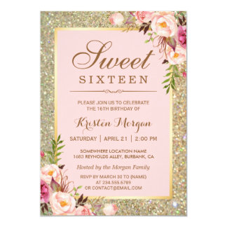 "Sweet 16 Birthday | Pink Floral Gold Glitters 5"" X 7"" Invitation Card"