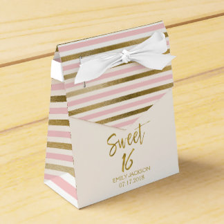 Sweet 16 Birthday Pink & Gold Foil Stripes Favor Box