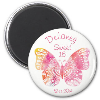 Sweet 16 Birthday Pink Yello Butterfly Dated Round 2 Inch Round Magnet