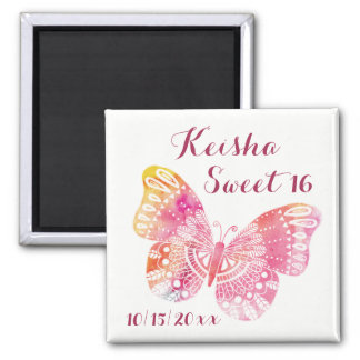 Sweet 16 Birthday Pink Yellow Butterfly Dated Sq Magnet